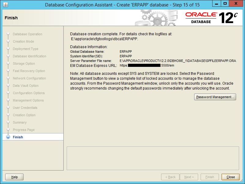 Oracle DBCA 12.2 - Step 15
