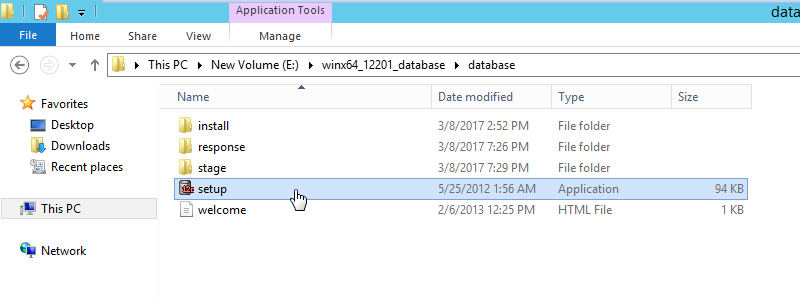 Oracle Software Installation - Click setup.exe