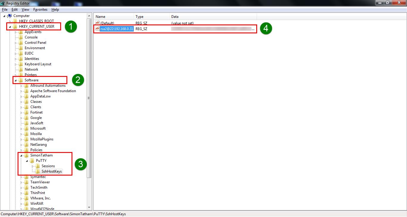 PuTTY - regedit server host RSA key